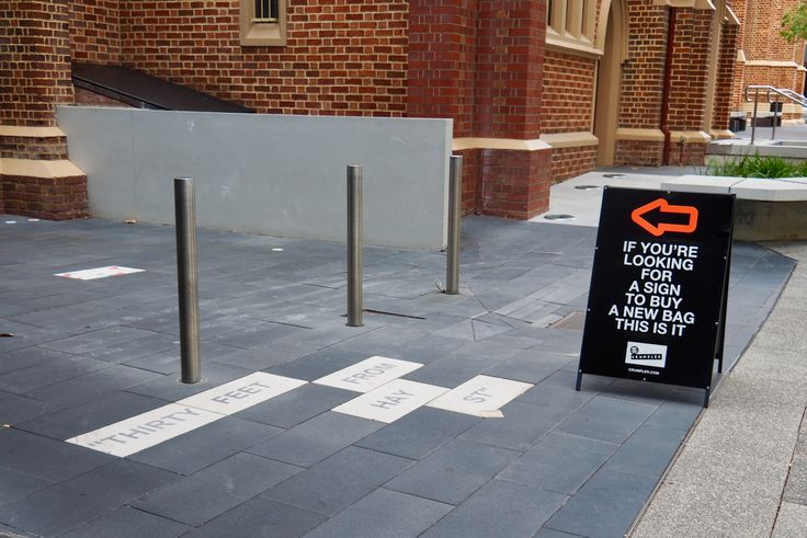 Spotted this sign in front of a church in Perth CBD.  Sign is for Crumpler Bags.