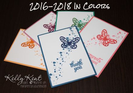 2016 Annual Catalogue Launch: 2016-2018 In Colors. Swirly Bird stamp set, Tin of Cards stamp set and Bold Butterfly framelits.  Kelly Kent - mypapercraftjourney.com.