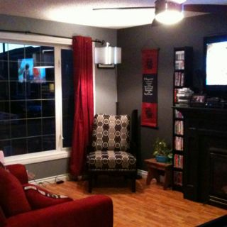 Pewter Side Walls And Grey As The Feature Wall With Blk Fireplace Furniture Curtains