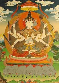 The goddess Marichi is the manifestation of the twenty-one forms of Tara and has the special power to avert bandits, robbers, and thieves. She is a most sublime goddess who is the ally of beings who are bereft of companionship and support and who are subject to the coercion of others more powerful than they.