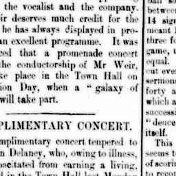J. B. Stanway performing at a concert fundraiser for Mr John Delaney. North Melbourne Advertiser, 6 Jun 1884, p. 3, 'Complimentary concert'.
