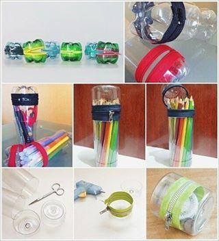 Porta lápis feito com materiais reutilizáveis, como garrafa peti ou outros recipientes prático, é só cortar do tamanho desejado, juntar dois fundo, e por fim colar um zíper entre as duas partes para fechar tudo. --------------------------------- #diy #facavocemesmo #artesanato #customizacao #reciclagem #reutilizacao #lifehack #dica #tutorial #howto #idea #decor #decoracao #cool #cute #garrafapeti #portalapis #ziper