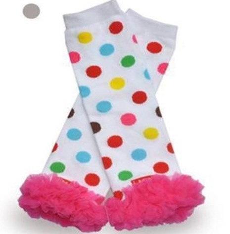Christmas holiday rainbow polka dot baby leg Warmers, newborn infant toddler leg Warmers, preteen adult arm Warmers. $6.99, via Etsy.