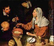 Old Woman Frying Eggs 1618  by Diego Rodriguez de Silva y Velazquez
