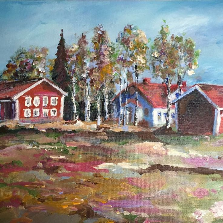 Finland.  Landscape.  Oil painting. Art.