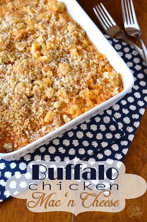 Buffalo Chicken Mac N Cheese     I'm thinking this would be great for the Superbowl but prepared in a muffin tin instead of a casserole to make it easy to serve.