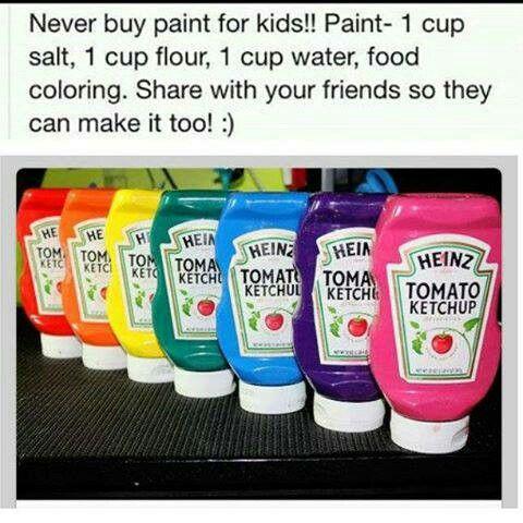 DIY Kids Paint - 1 C salt, 1 C flout, 1 C water, food coloring