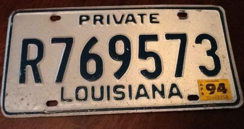 Louisiana State Private License Plate Automobile Green On White Stickered 1994 Sold $11.25