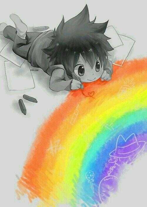 Little anime boy drawing a rainbow   Random Anime guys ...