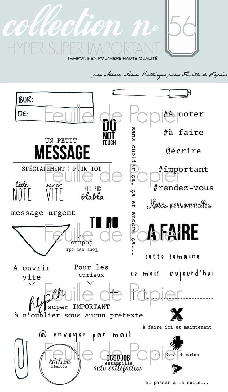 MATERIEL > Tampons > Marie-Laure Bollinger pour Feuille de papier > Collection N° 56 Hyper super important - Feuille de papier - Kits en ligne