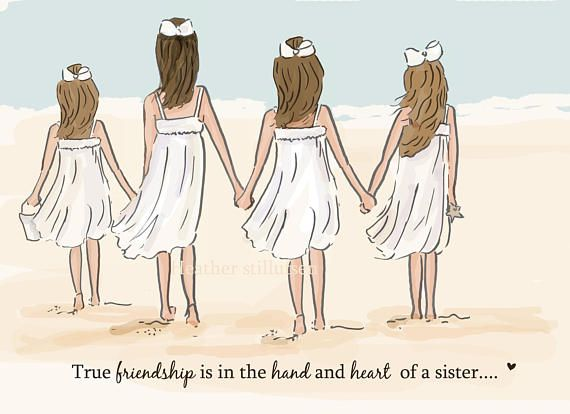 Four Sisters holding hands at the beach, illustration, cartoon, painting idea.