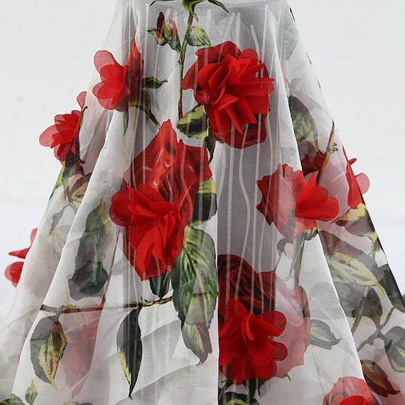3d Organza Bridal Lace Fabric With Lovely Red Chiffon Rosette
