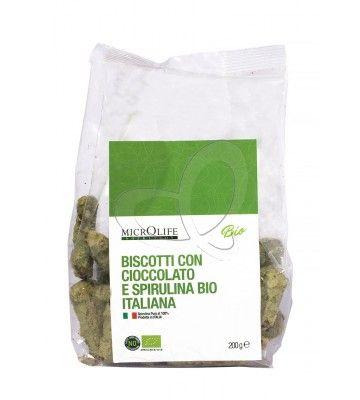 Biscotti con cioccolato e spirulina bio italiana Microlife
