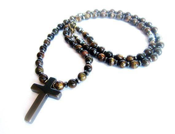 Mens cross necklace gemstones men tiger eye beaded necklace