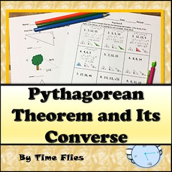 This geometry lesson covers the Pythagorean Theorem and its converse. It includes notes, practice, a quiz and a lesson plan. This lesson is preparing students to recognize when to use Pythagorean Theorem. Students will practice using real-life problems, rectangles, right triangles and isosceles triangles.