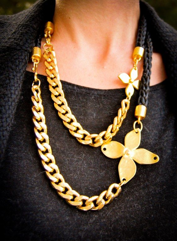 Handmade necklace with black satin cord and gold plated chain.