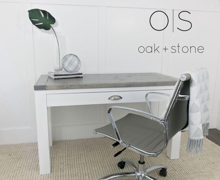 Oak + Stone Modern Desk  #classicgrey #desk #homeoffice #rustic #modernrustic
