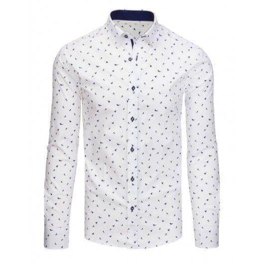 aa1d5e70eb3 Společenské pánské košile v bílé barvě se vzorem a dlouhým rukávem -  manozo.cz