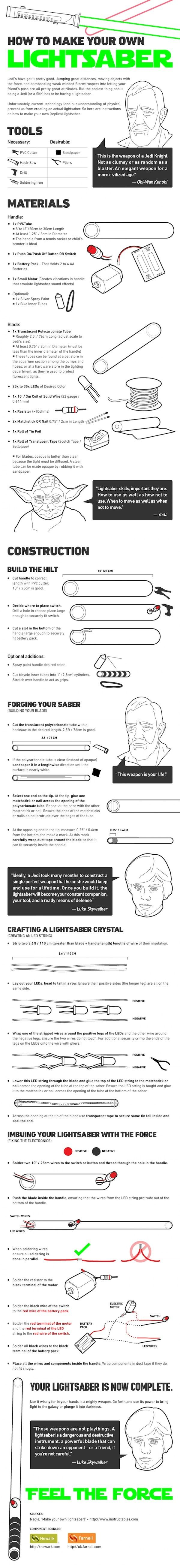 How to make your own light saber [infographic]. Could I do this or do I risk burning the house down
