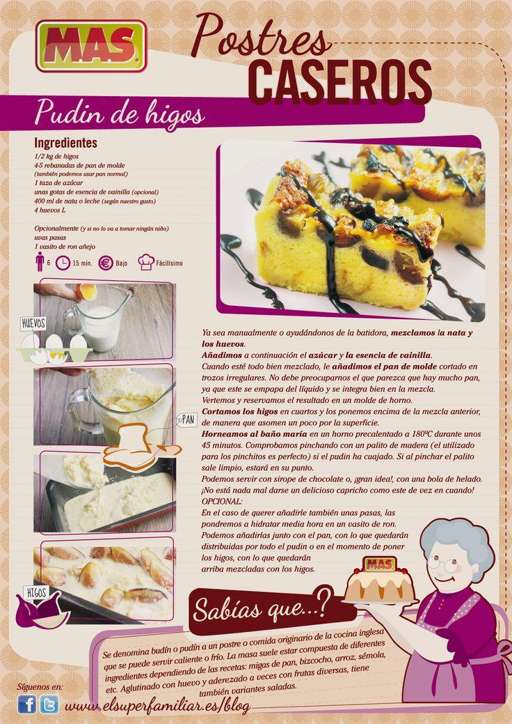 ¡Nueva #Receta! Pudin de #Higos #inforecetas #infografias #infographic #recipes #recetas