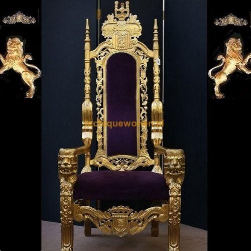 Barok Throne King Lion Arthur Purple Gold | Le Chique Wonen