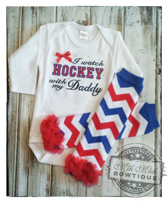 I Watch Hockey with my Daddy NHL Hockey Baby by MikMakBowtique