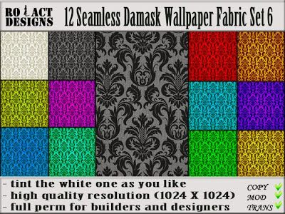 Ro!Act Designs 12 Damask Wallpaper Fabric Set 6