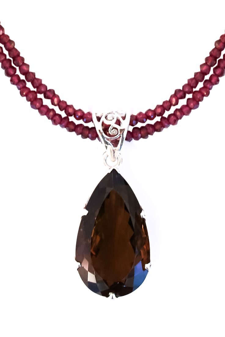 Smoky Topaz on Garnet Pendant