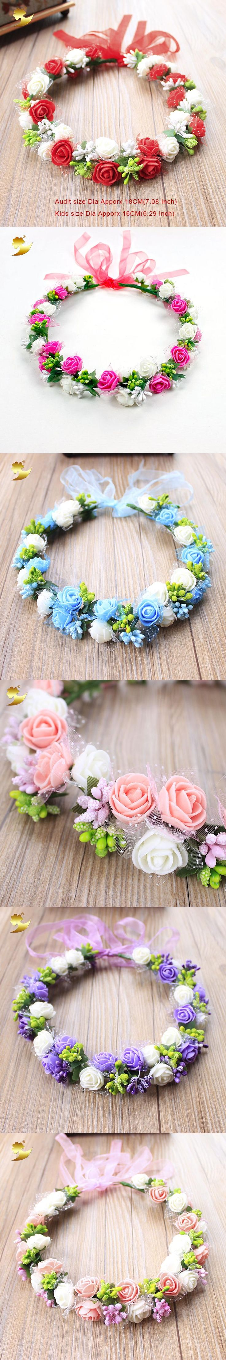 XinYun Headband For Women Bridal Crown Wedding Hair Accessories Adjustable Flower Crown Kids Rose Headwear Flower Head Wreath