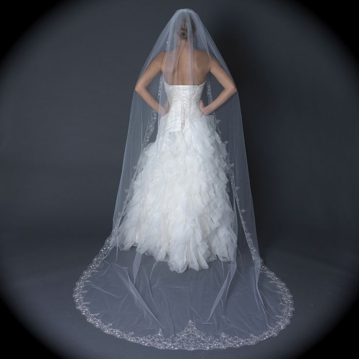 Bella Tiara Dramatic Embroidered Edge Cathedral Wedding Veil