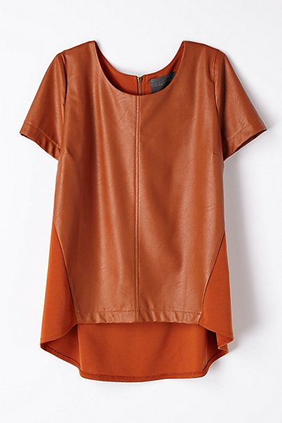 vegan leather top. pair with statement necklace, creme colored cords, and a neutral pump