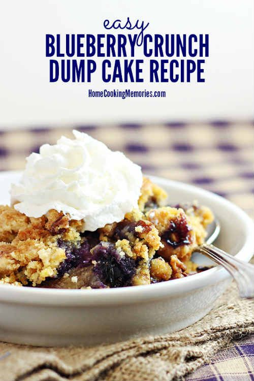 "Easy Blueberry Crunch Dump Cake Recipe ""This Easy Blueberry Crunch Dump Cake recipe is so simple to make! You dump all the ingredients together, then bake, and you have a delicious dessert perfect for everything from a family celebrations to holidays… Now, if you are familiar with dump cake recipes, then you know that they are easy — you just dump, or layer, the ingredients together.  It's such an easy dessert and SOOOO, SOOOO good."" Easy recipes are my favorite recipes. In our busy house…"