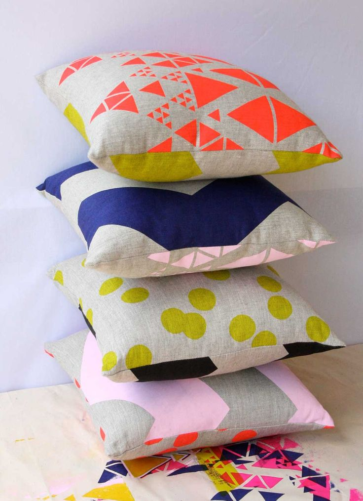 Cushion Double Sided Neon Red and Candy Pink - Hand screen printed on hemp - Eco friendly