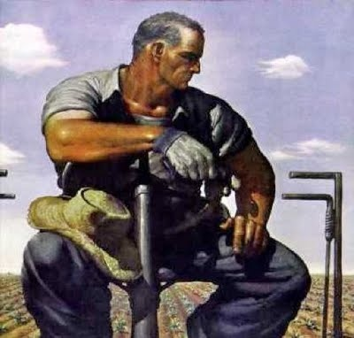 'Farmer on the Tractor' by Robert Riggs (American, 1896 - 1970)