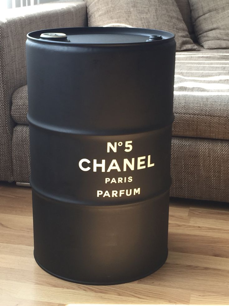 DIY / upcycling an old oil drum /barrel  CHANEL design  black and white minimal industrial