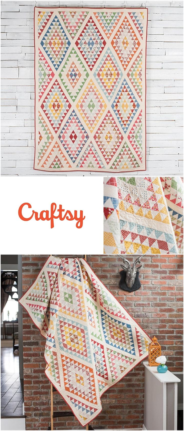 Diamonds Quilt Kit by Craftsy featuring American Jane by Moda Bread n Butter.   This modern quilt using American Jane fabrics is a fun and impressive intricate vintage inspired quilt.  Twin size quilt includes fabrics and quilt pattern.  Affiliate link.