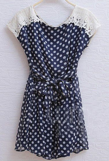 Dots Chiffon, Polka Dots, Neck Shorts, Round Neck, Sleeve Polka, Shorts Sleeve, Neck Polka, Chiffon Dresses, Navy Vintage