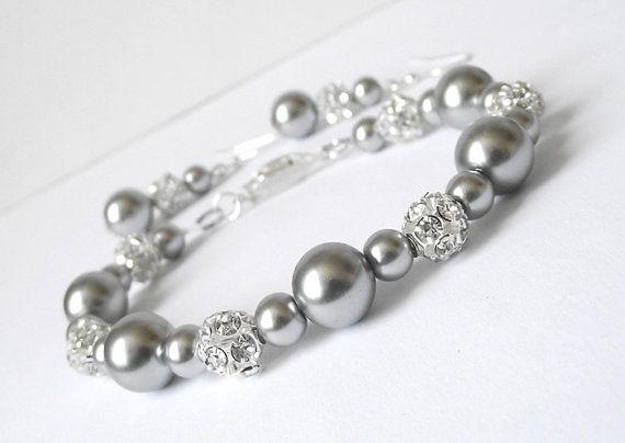 gray bridesmaid jewelry sets bracelet & by nefertitijewelry2009, $35.00