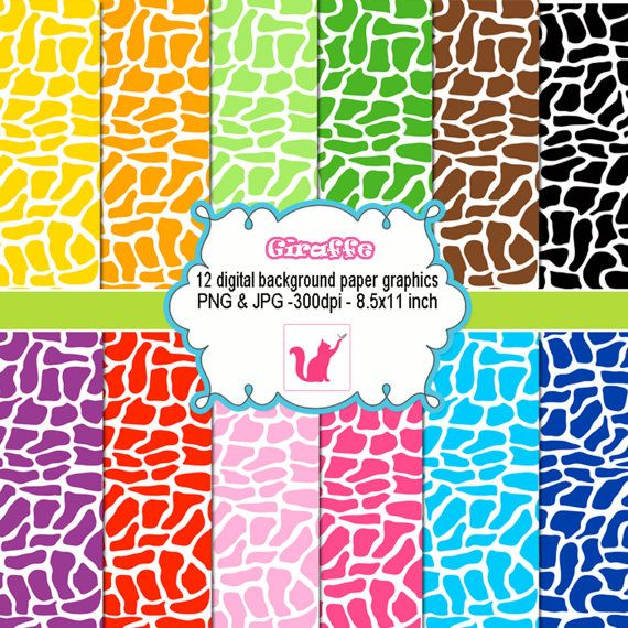 INSTANT DOWNLOAD Giraffe Cow Animal clipart digital background paper graphics baby shower birthday - cardmaking - Clip art green png jpg