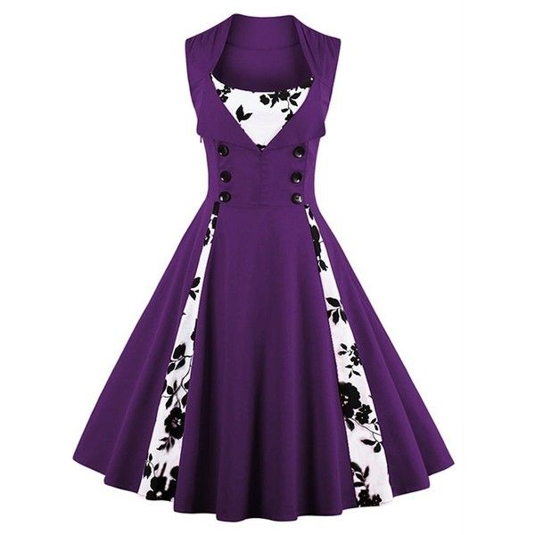 Amazon.com: Killreal Women's Polka Dot Retro Vintage Style Cocktail... ($19) ❤ liked on Polyvore featuring dresses, polka dot dresses, purple party dresses, purple dress, purple evening dress and party dresses