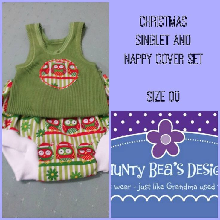 Handmade by Aunty Bea's Designs Singlet and nappy cover set, in 100% cotton Christmas Print with Bonds baby singlet.