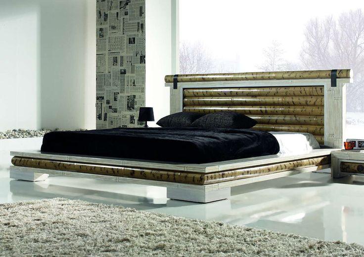 Futonbett SHA 180x200 weiss mit Lattenrost Bambusbett Doppelbett Designerbett