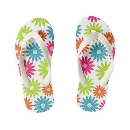 Daisy Days Bright Floral Flip Flops Jandals Thongs - floral style flower flowers stylish diy personalize
