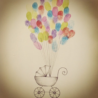 DIY baby carriage + balloon thumbprints for a baby shower