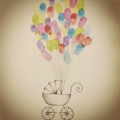 Idé til babyshower, alle som kommer setter et fingeravtrykk DIY baby carriage + balloon thumbprints for a baby shower