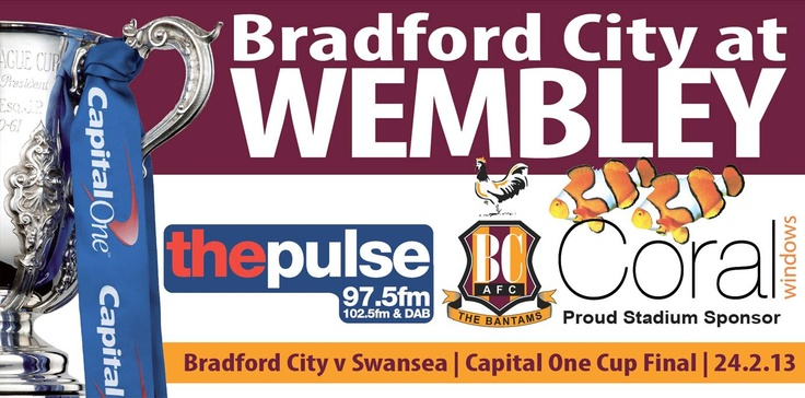 You've followed the fairy tale story of #BradfordCityFC climbing all the way to the Capital One Cup Final! And now thanks to Coral Windows and La Romantica Restaurant in Bradford, we're giving YOU the chance to see them in action!  We have two special ticket plus accommodation packages up for grabs so enter now! Each package consists of 2 tickets plus an overnight stay at a hotel less than a mile from Wembley Stadium! #competition #football