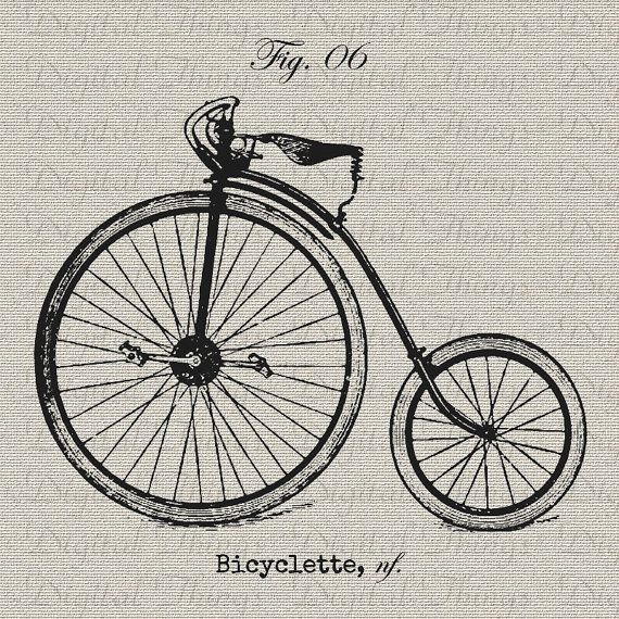 Vintage Bike Bicycle Cycle French Digital Download for Iron on Transfer Fabric Pillows Tea Towels DT1108