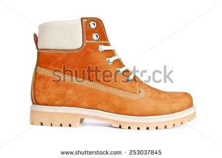 brown boots on a white background
