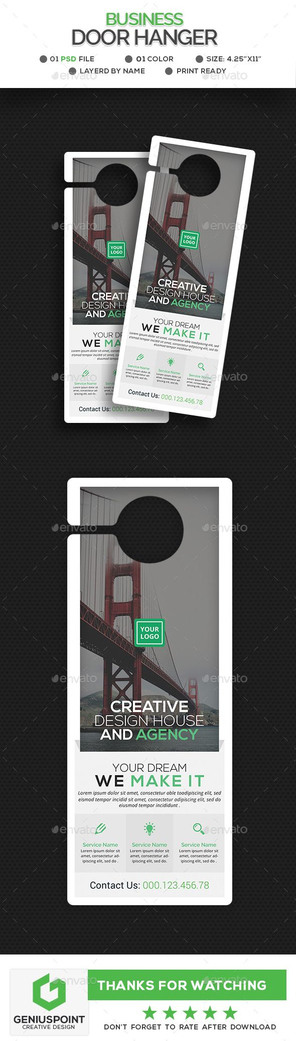 Corporate Door Hanger Template - Miscellaneous Print Templates