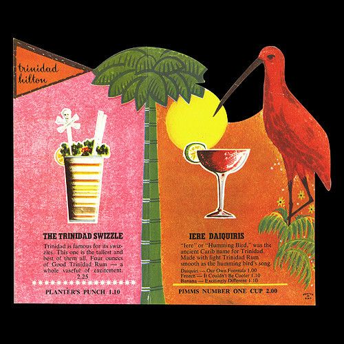 Cocktail menu from the Trinidad Hilton- vibrant colors and a two-dollar Pimm's Cup!